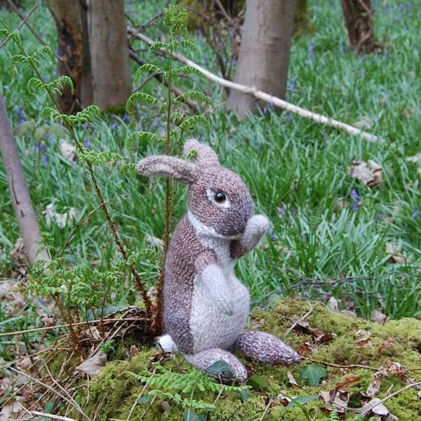 Adorable little wild rabbit hand knitted in pure wool, alpaca and mohair