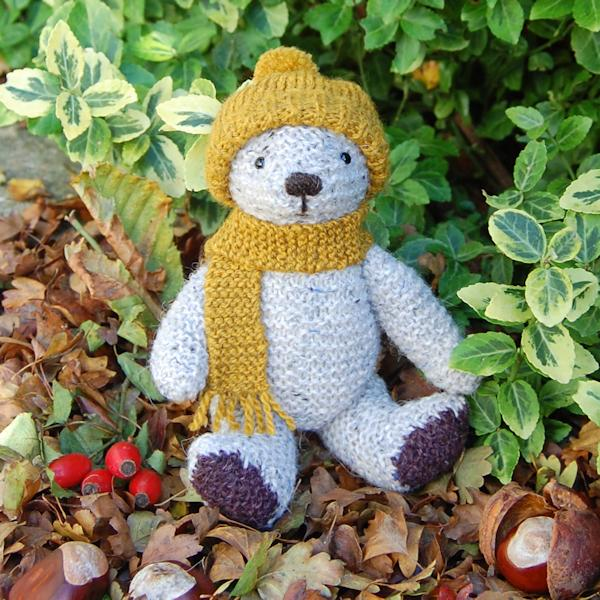 1dd566e4afe Cute little Fernleigh looking cosy in his woolly hat and scarf. He is hand  knitted