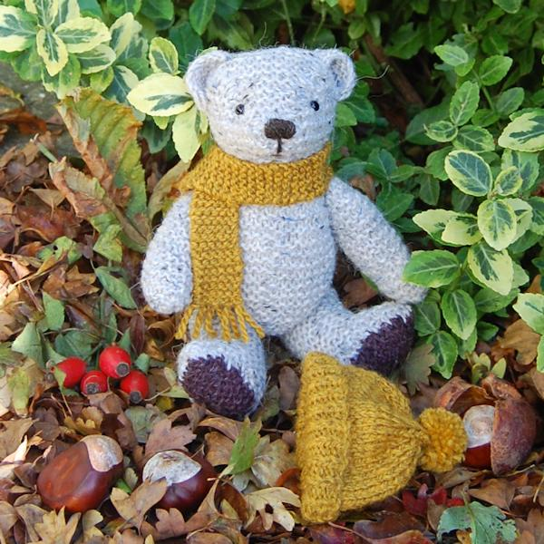 Cute little Fernleigh looking cosy in his woolly hat and scarf. He is hand knitted in pure wool and alpaca and measures just 8 inches.