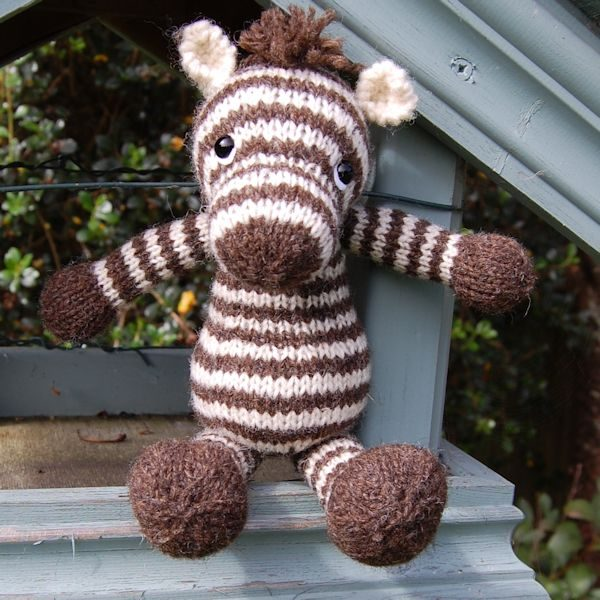 Zebra - hand knitted from pure Jacob hand spun wool