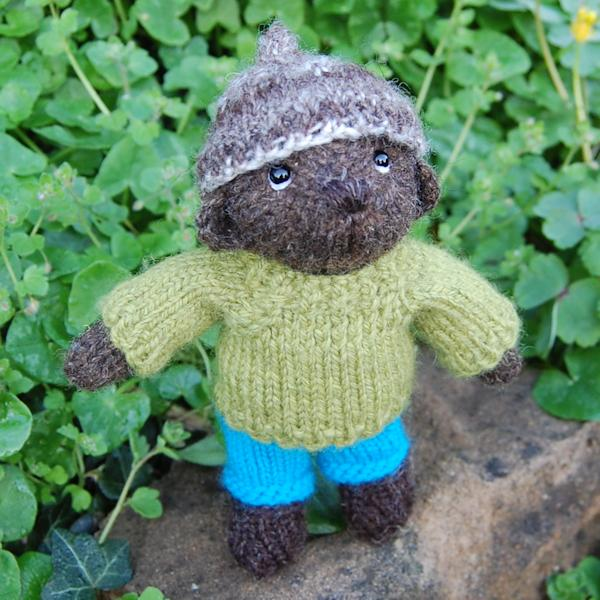 Pure Hebridean Hand Knitted Pocket Bear