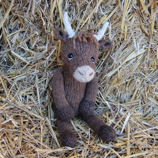 Highland Cow - hand knitted from pure Manx Loaghtan hand spun wool