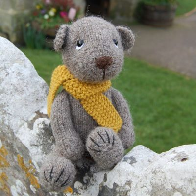 Our handsome Gotland bear hand knitted from pure hand spun wool