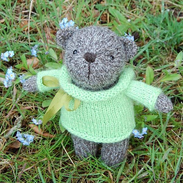 Little Herbie a hand spun Jacob wool teddy bear - so cute!
