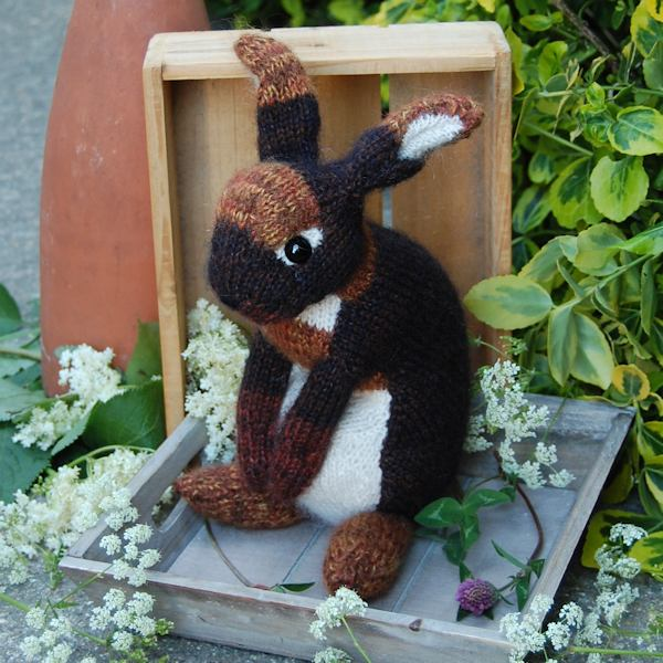 Gorgeous black bunny rabbit hand knitted in pure alpaca wool and mohair