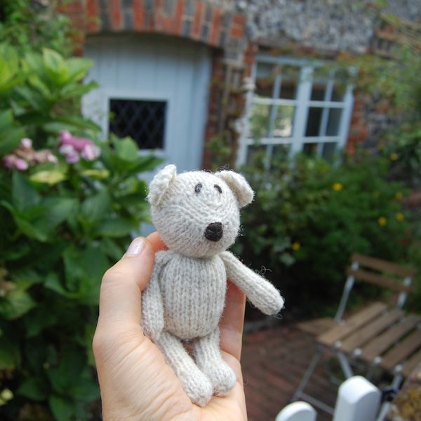 Pure Norfolk Horn wool hand knitted teddy bear