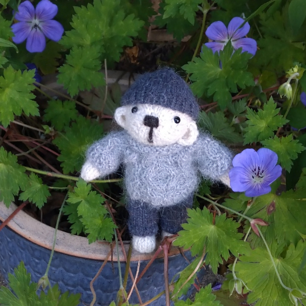 Cute little North Ronaldsay wool pocket size teddy bear by The Knitted Bear Company