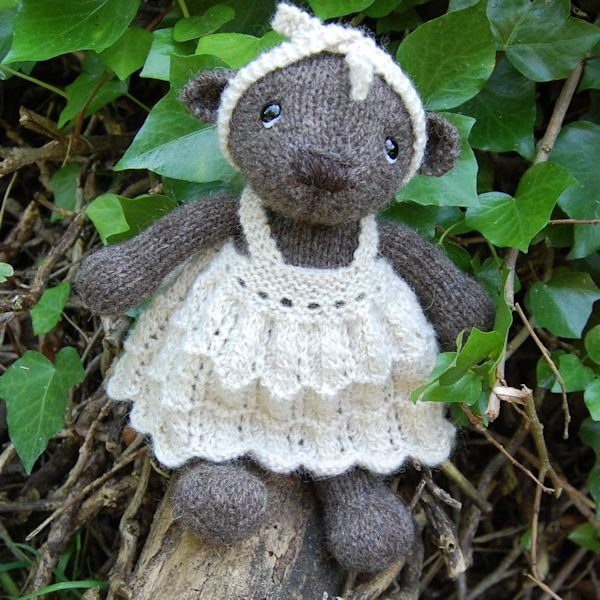 Briony a little bear made from pure North Ronaldsay wool