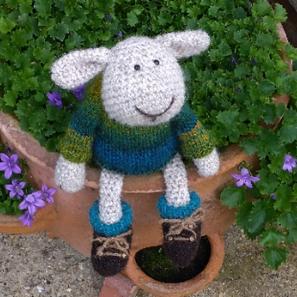 Gorgeous Gordon Sheep wearing his new walking boots! He is hand crocheted in pure North Ronaldsay wool