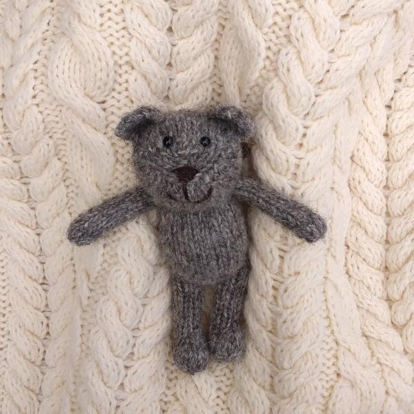 North Ronaldsay wool hand knitted teddy bear