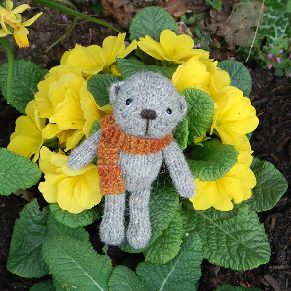 Sweet little pocket size teddy bear hand made from North Ronaldsay wool - designed and made by Diana of The Knitted Bear Company