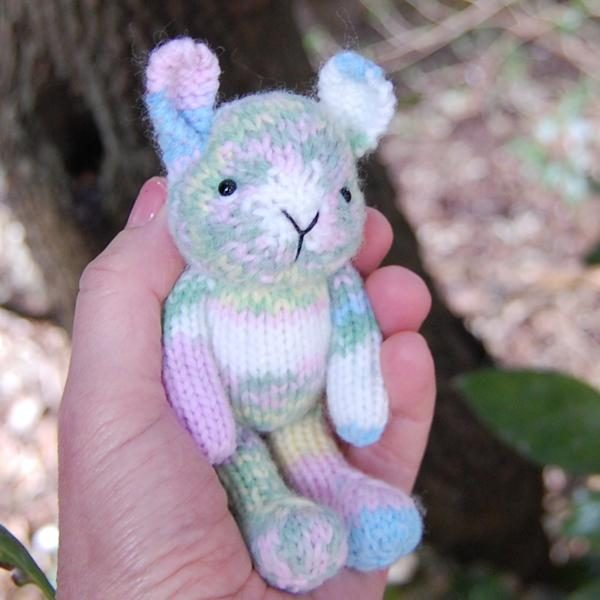 Marshmallow a hand knitted pocket size rabbit