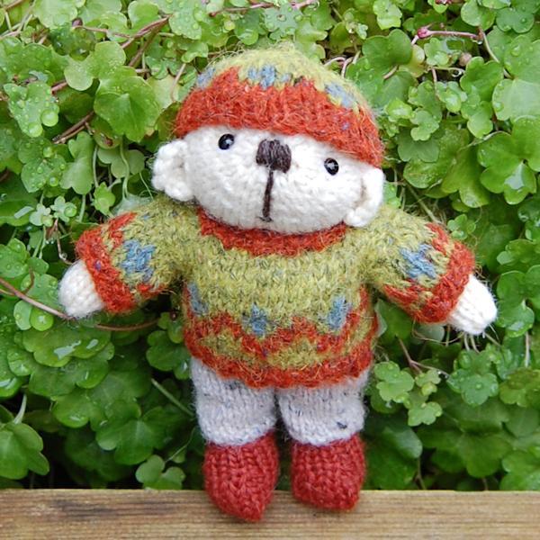 Cute little Twigglet a hand knitted teddy bear in rare breed Portland wool