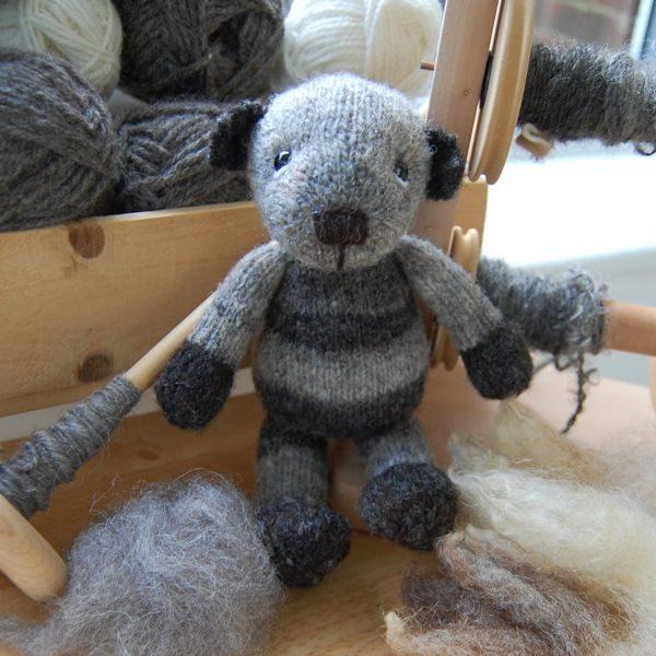Little teddy bear knitted from hand spun Ryeland wool