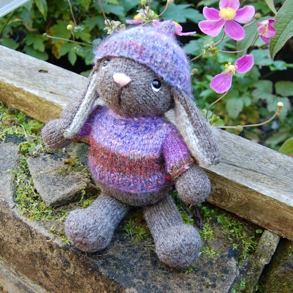 Throbisha a hand knitted rare breed Ryeland wool rabbit