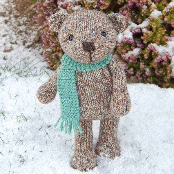 Gorgeous Finley bear hand knitted in pure Shetland Island tweed wool.