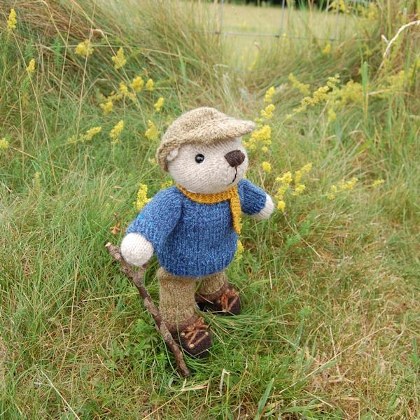 The adorable Hamish, our Lakeland teddy bear, fully dressed for a day's fell walking