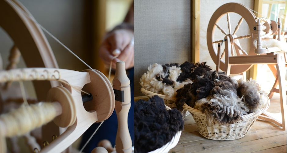 Hand Spinning / Our Rare Breed Black Welsh Mountain and Jacob Fleeces