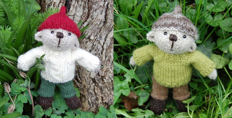 hand knitted pocket teddy bears