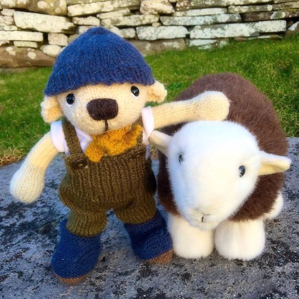 Our handsome Southdown bear hand knitted from pure hand spun wool