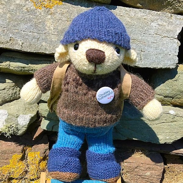 Hand made teddy bear knitted in pure Shetland hand spun wool