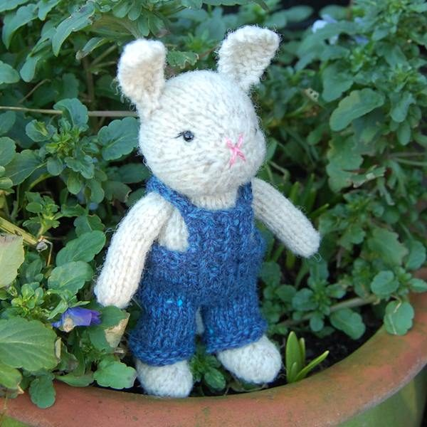 The adorable Ifan, a hand knitted rabbit knitted in Swaledale hand spun wool