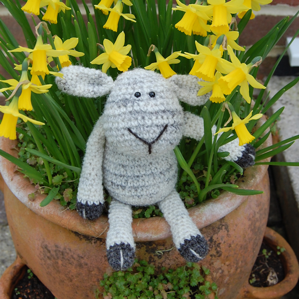 Cheeky crochet sheep made from beautiful Uist wool designed and hand made by Diana of The Knitted Bear Company