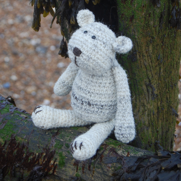 The adorably huggable Cuthbert an Isle of Uist wool crochet teddy bear