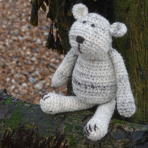 The adorably huggable Cuthbert an Isle of Uist wool crochet teddy bear