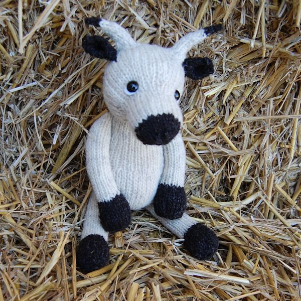 White Park Cow - hand knitted from pure Norfolk Horn hand spun wool