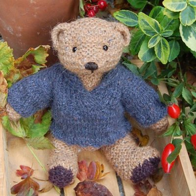 Cute little Elgan hand knitted in pure wool and alpaca and measuring just 8 inches