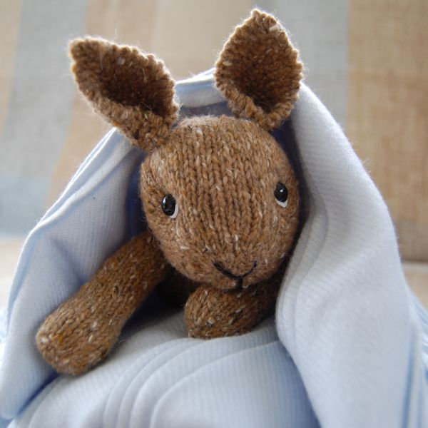 Hand knitted rare breed wool and alpaca rabbit